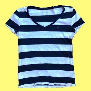 Tommy Hilfiger Cotton V-Neck Striped T-Shirt